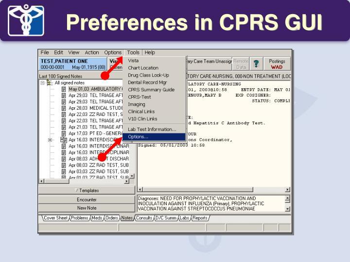 Preferences in CPRS GUI