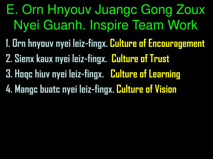 E. Orn Hnyouv Juangc Gong Zoux Nyei Guanh. Inspire Team Work
