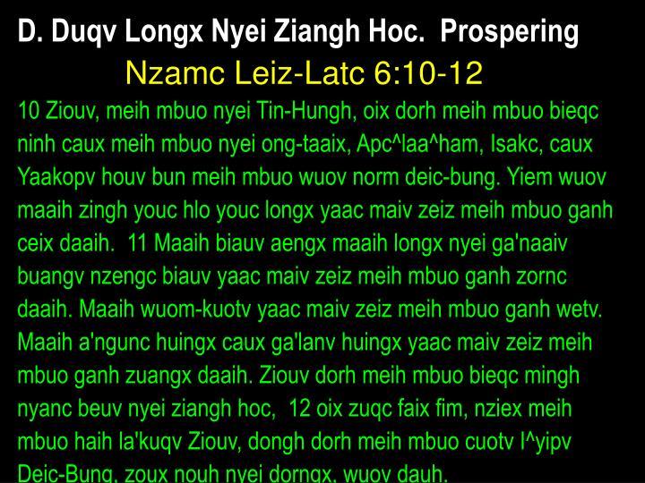 D. Duqv Longx Nyei Ziangh Hoc.  Prospering