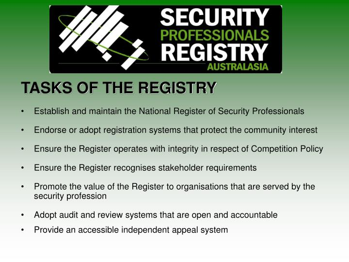TASKS OF THE REGISTRY