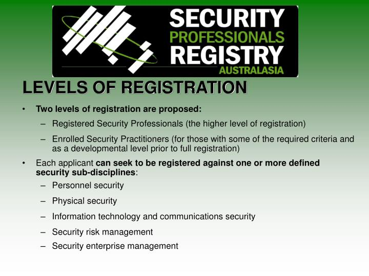 LEVELS OF REGISTRATION
