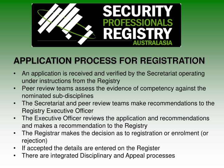 APPLICATION PROCESS FOR REGISTRATION