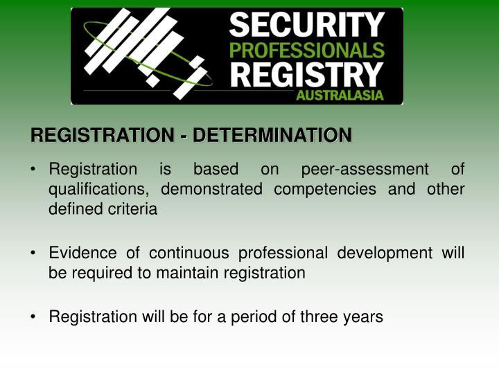 REGISTRATION - DETERMINATION