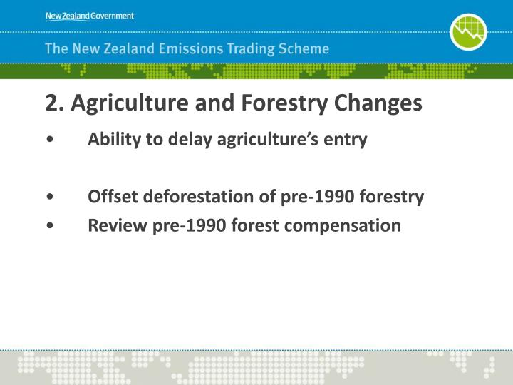 2. Agriculture and Forestry Changes