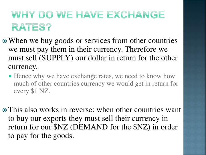 Why do we have exchange rates?