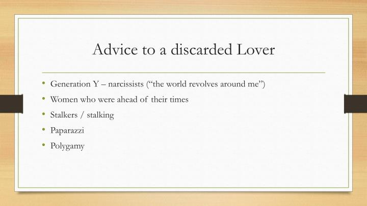 Advice to a discarded Lover