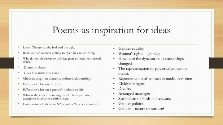 Poems as inspiration for ideas