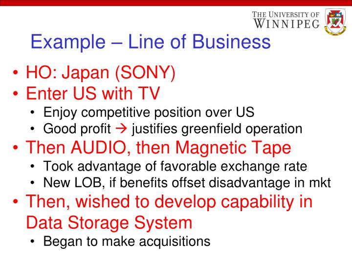 Example – Line of Business