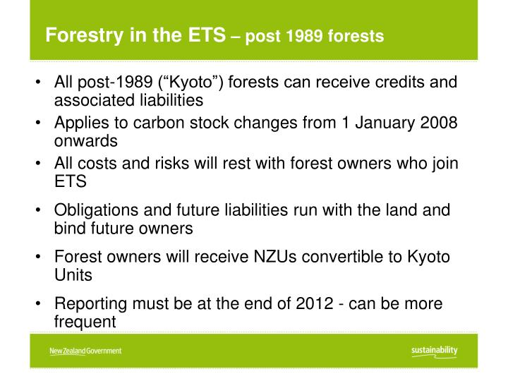 Forestry in the ETS