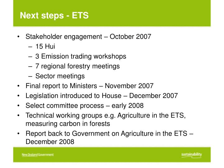 Next steps - ETS