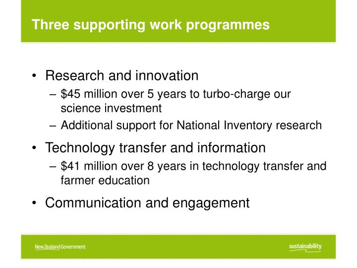 Three supporting work programmes
