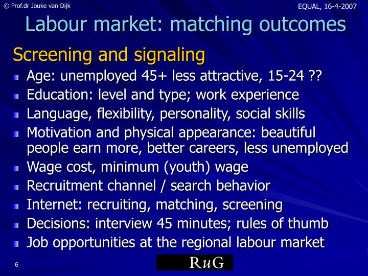 Labour market: matching outcomes