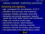 labour market matching outcomes