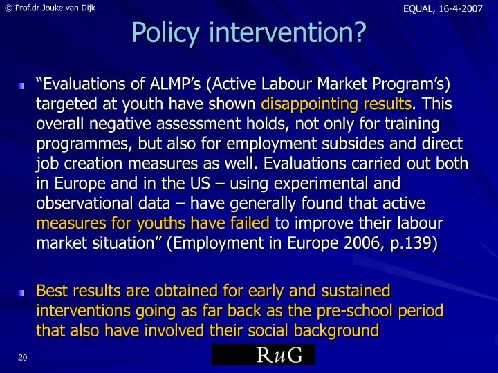 Policy intervention?