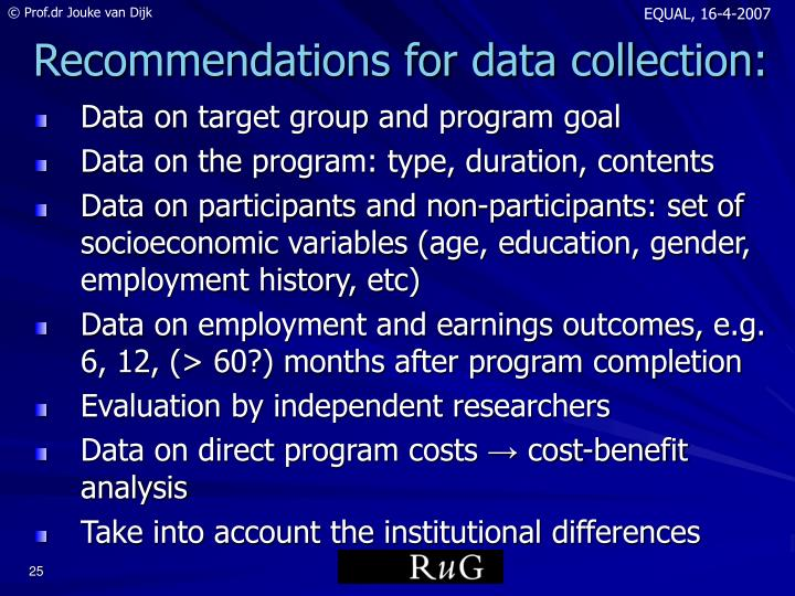 Data on target group and program goal