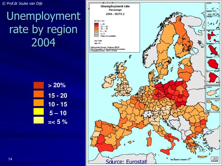 Unemployment rate by region 2004