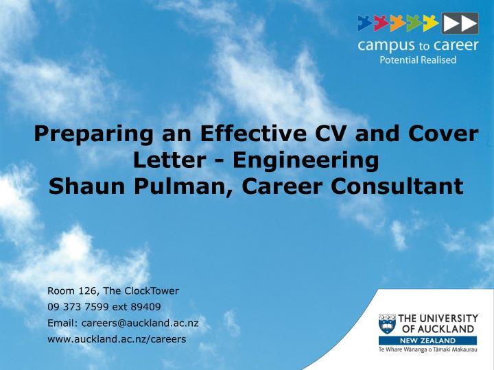 Preparing an effective cv and cover letter engineering shaun pulman career consultant