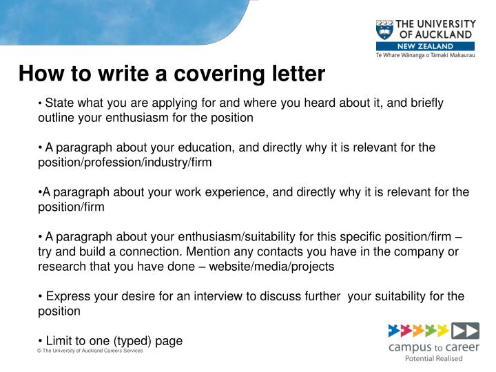 How to write a covering letter