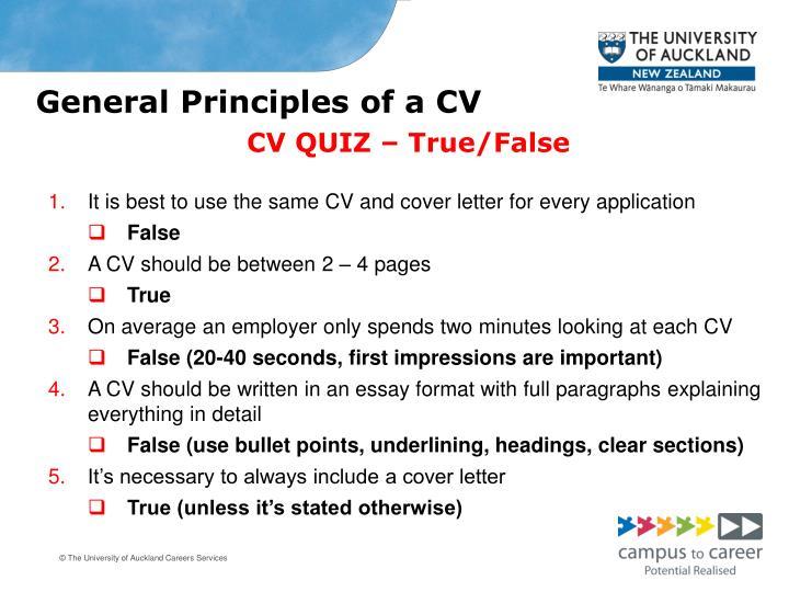 General Principles of a CV
