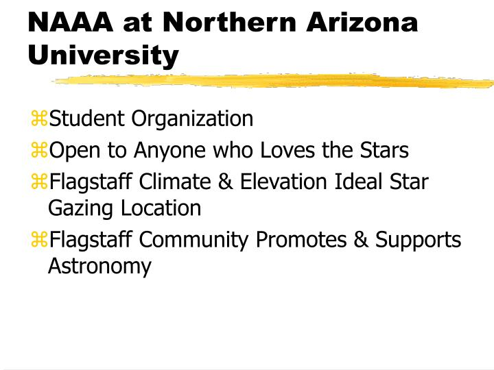 NAAA at Northern Arizona University