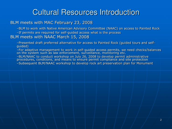 Cultural resources introduction