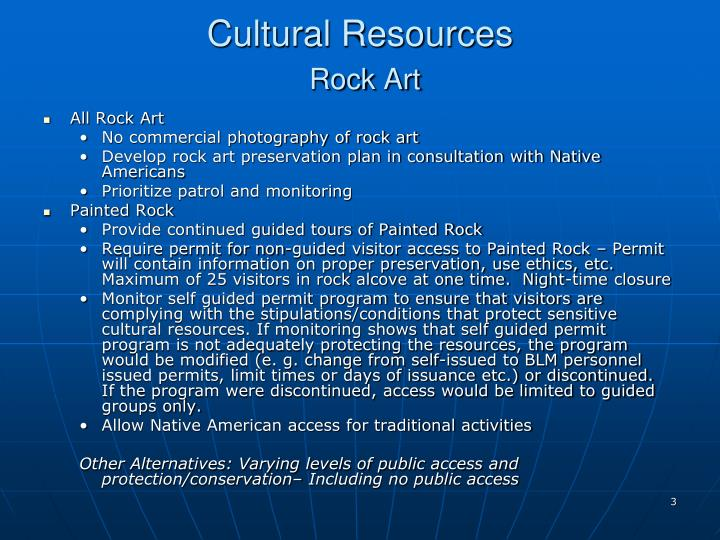 Cultural resources rock art