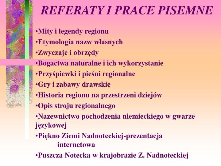 REFERATY I PRACE PISEMNE