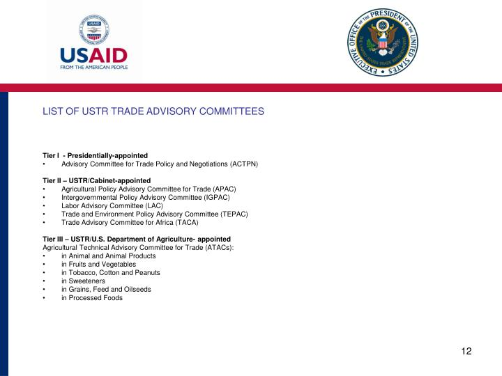 LIST OF USTR TRADE ADVISORY COMMITTEES