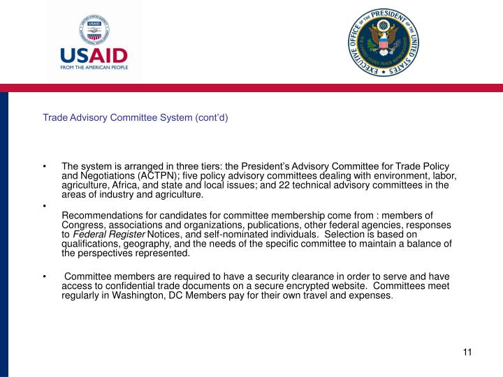 Trade Advisory Committee System (cont'd)