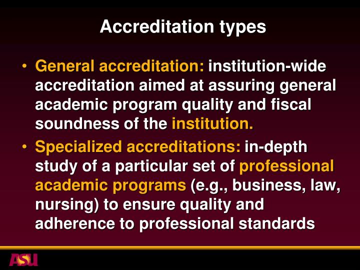 Accreditation types
