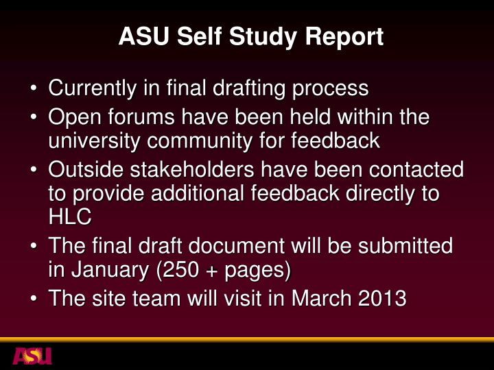 ASU Self Study Report