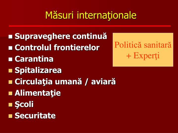 Măsuri internaţionale