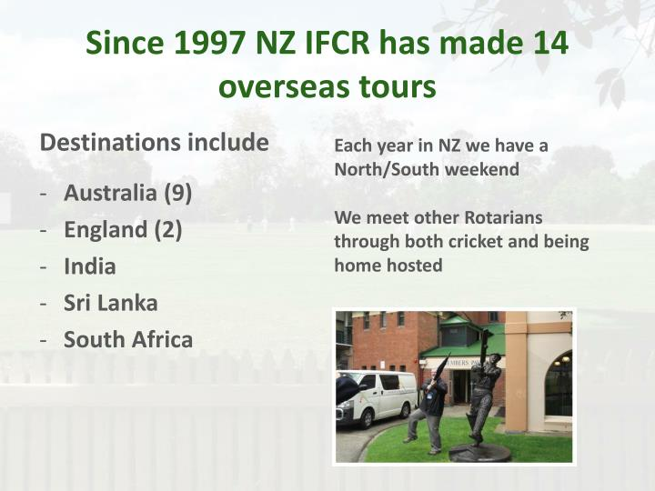 Since 1997 NZ IFCR has made 14 overseas tours