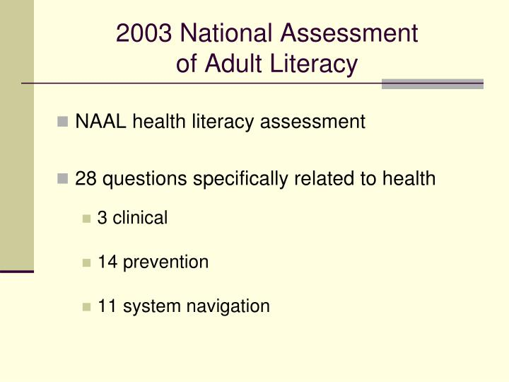 2003 National Assessment