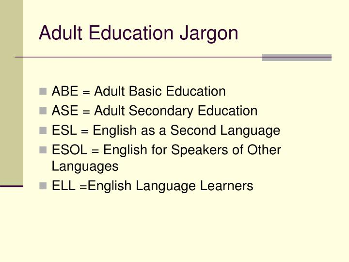 Adult Education Jargon