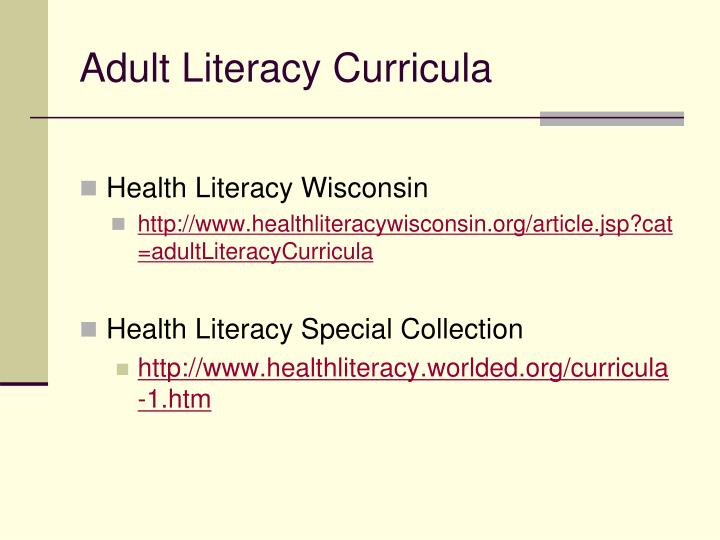 Adult Literacy Curricula