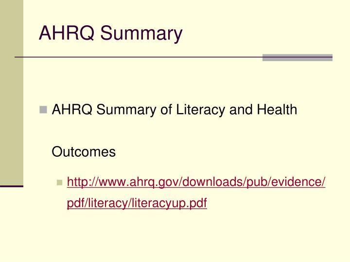 AHRQ Summary