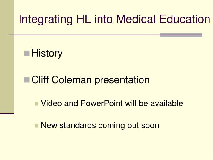 Integrating HL into Medical Education