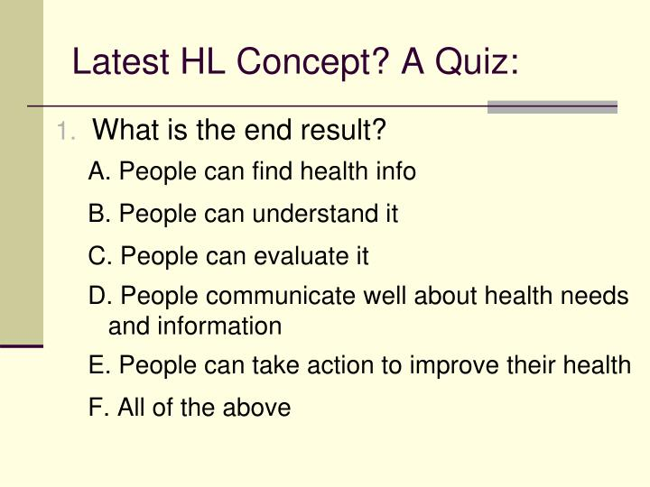 Latest HL Concept? A Quiz: