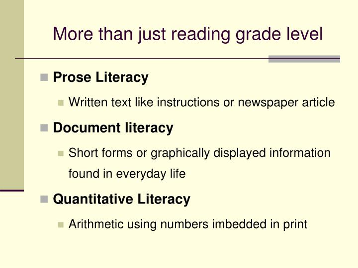 More than just reading grade level