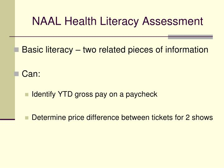 NAAL Health Literacy Assessment