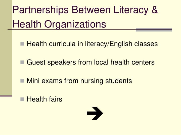 Partnerships Between Literacy & Health Organizations