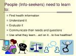 people info seekers need to learn to