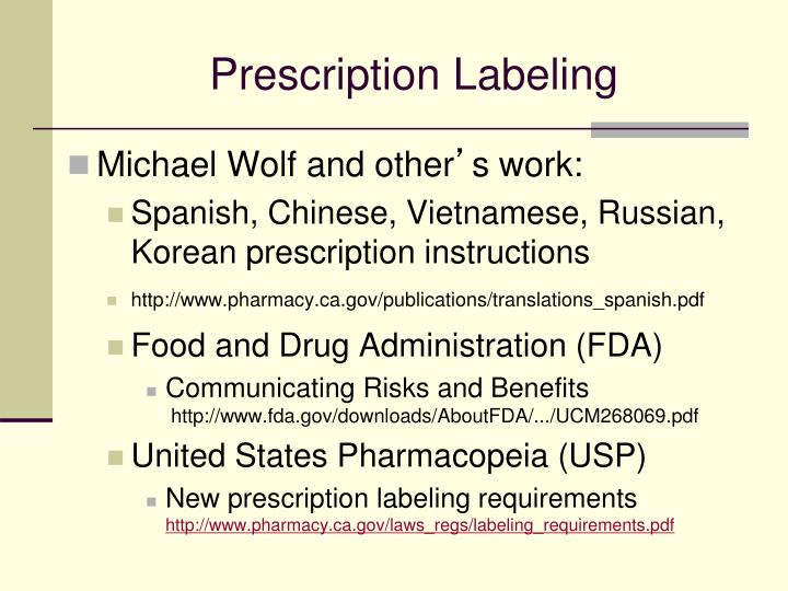 Prescription Labeling