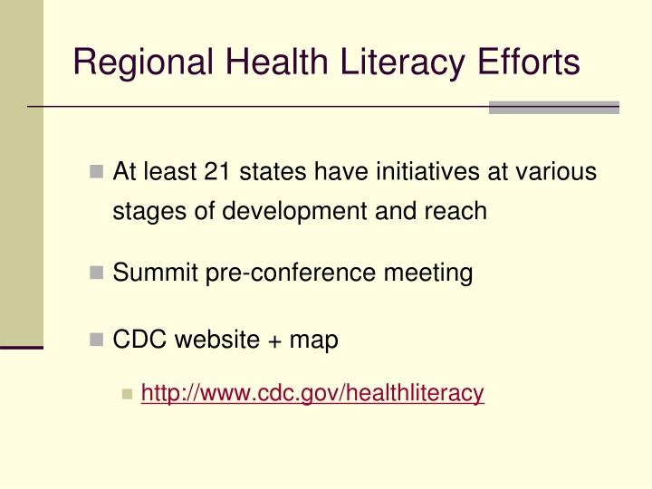 Regional Health Literacy Efforts