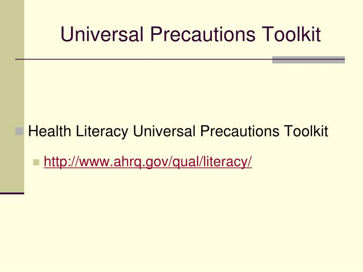 Universal Precautions Toolkit
