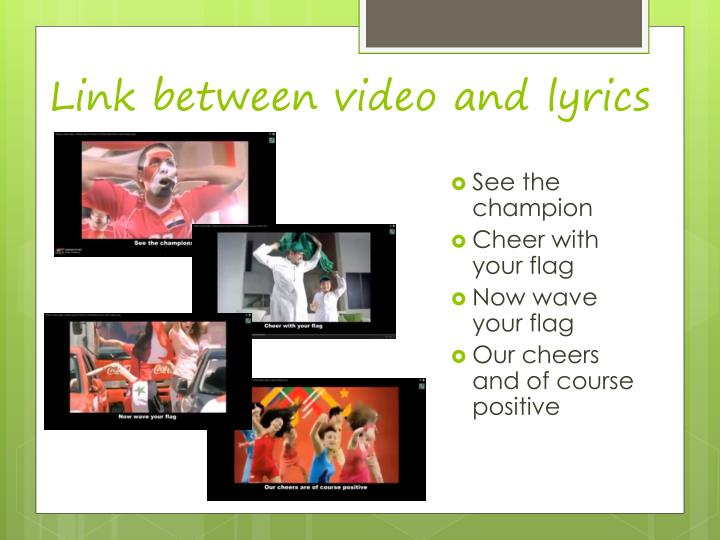 Link between video and lyrics