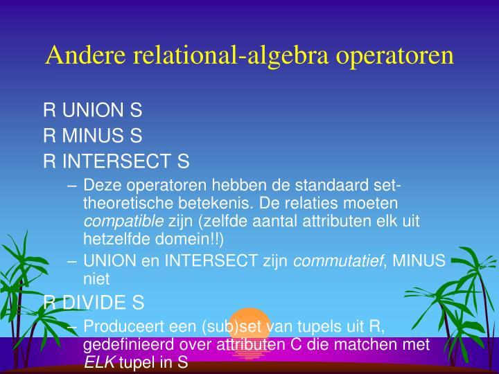 Andere relational-algebra operatoren