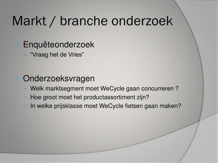 Markt / branche onderzoek