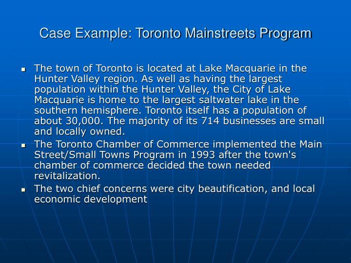 Case Example: Toronto Mainstreets Program